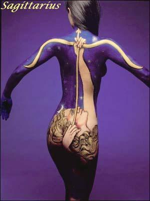 sagittarius zodiac sign body paint