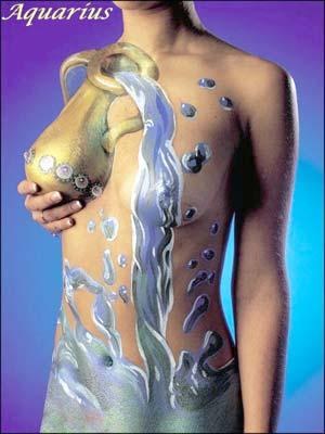 aquarius zodiac sign body paint