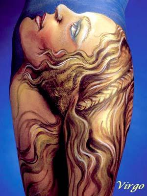 virgo zodiac sign body paint