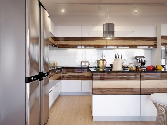 The kitchen hardware compliments the horizontal pattern, with long nickel bar handles following the flow.