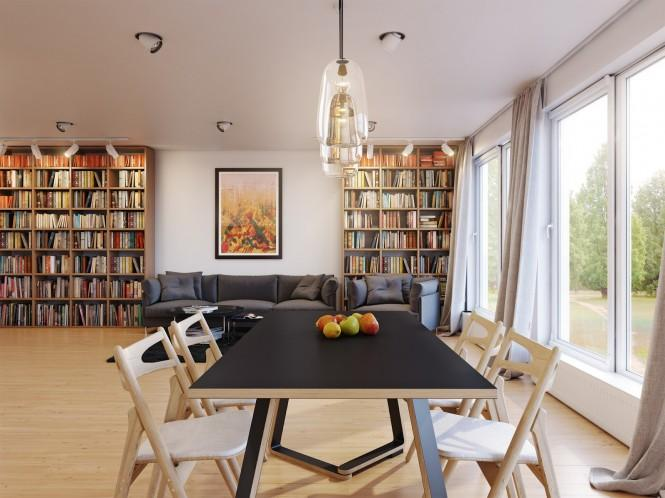 The darkness over the surface of the dining table is picked out by a fabric-covered sofa in the adjacent lounge area, a set of three nesting tables, and a matching area rug.