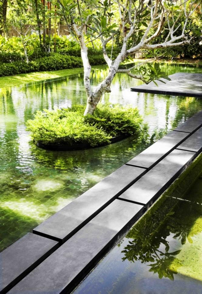 Ponds and a pool were developed to provide beautiful focal points and a cool, serene atmosphere. Tiny islands on which trees float litter the sun-drenched courtyard, helping to build levels of greenery throughout the space.